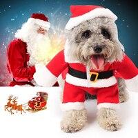Trajes de mascotas Ropa para Perros de Navidad Papá Noel Traje Outwear Suave Polar Fleece Winter Cachorro Capa Del Suéter Caliente Del Jersey