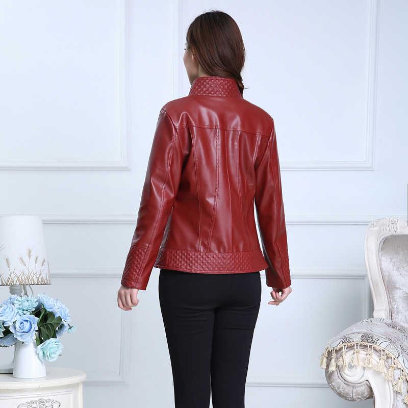 Для женщин Демисезонный Повседневный из кожзаменителя куртка на молнии с длинными рукавами пальто N802