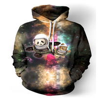 2017 Women Men Fashion Cat And Panda Astronaut Pals Galaxy 3D Hoodie Outerwear Harajuku Loose Hooded