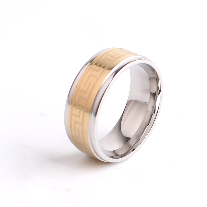 free shipping 8mm silver border gold color Great Wall 316L Stainless Steel finger rings for women men wholesale