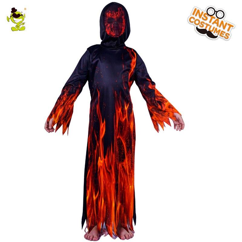 Enfant de Feu Flamme Diable Costume Enfant Halloween Party Diable Rôle Jouer Fantaisie Robe Garçon Costumes Effrayants de Carnaval Partie
