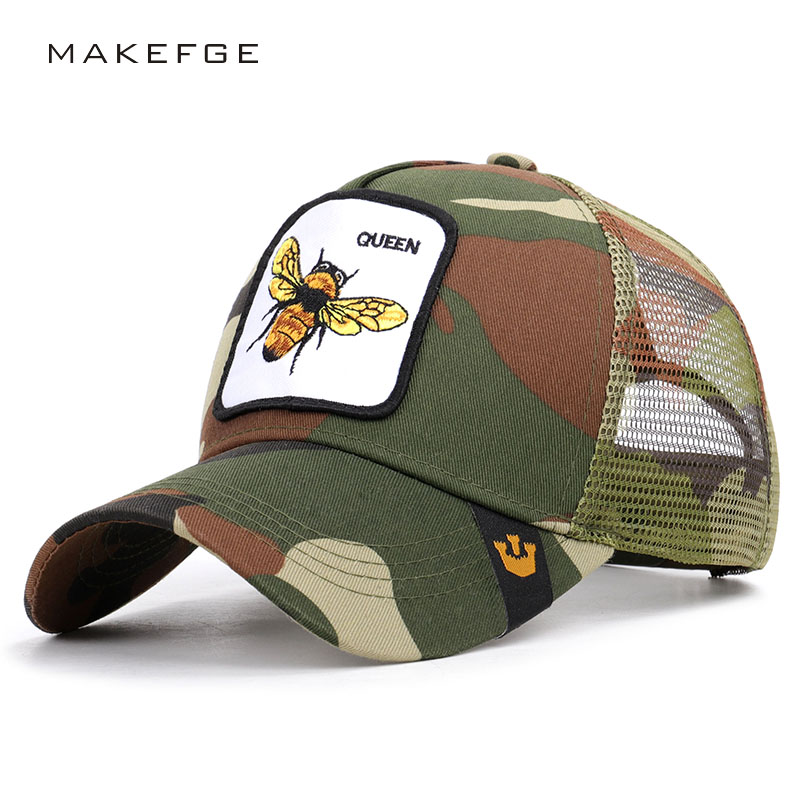 New animal embroidery mesh   baseball     cap   cartoon bee cock net hat unisex size adjustable high quality outdoor visor driver   cap