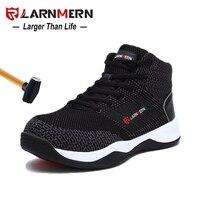 LARNMERN мужчины s стальной носок защитная Рабочая обувь для мужчин дышащие легкие Анти-размывание Нескользящие светоотражающие защитные сапо...