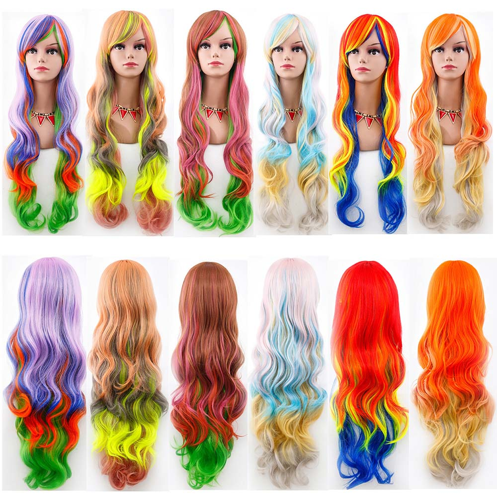 Gradient Wig Long Wavy Rainbow Hair For Women Anime Cosplay Synthetic Harajuku Costume Party Wig Halloween Masquerade Accessorie