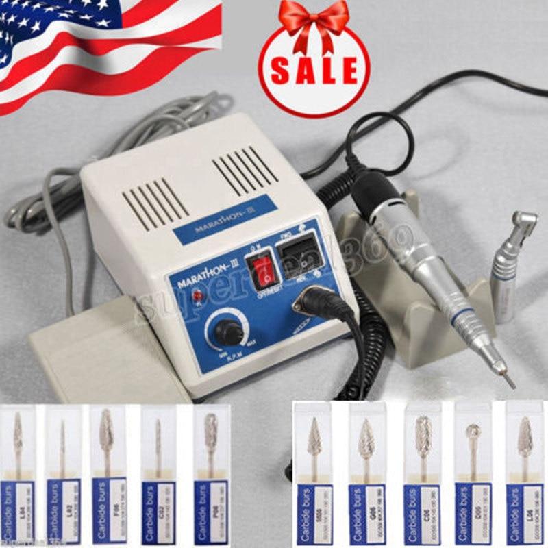 Dental Lab MARATHON 35k Rpm Handpiece Electric Micro motor+10*Drills Burs N3 : 91lifestyle