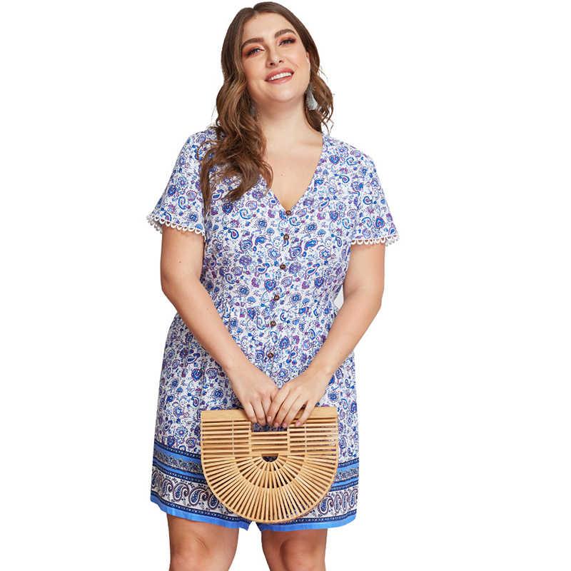 Большие размеры 3XL 4XL женские комбинезоны с глубоким v-образным вырезом и пуговицами, свободные брюки, хлопковый пляжный большого размера с цветочным принтом