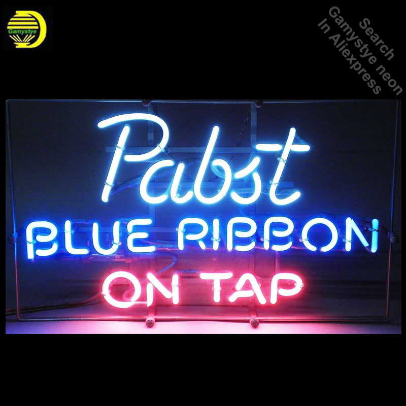 Pabst Blue Ribbon Beer Bar Glass Neon Light Sign Neon Bulbs & Tubes
