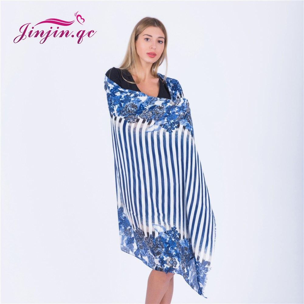 Jinjin.QC 2018 New Fashion Floral Scarf Women Scarves and Wraps Striped Shawls Bandana Hijab Echarpe Foulard Femme Drop shipping
