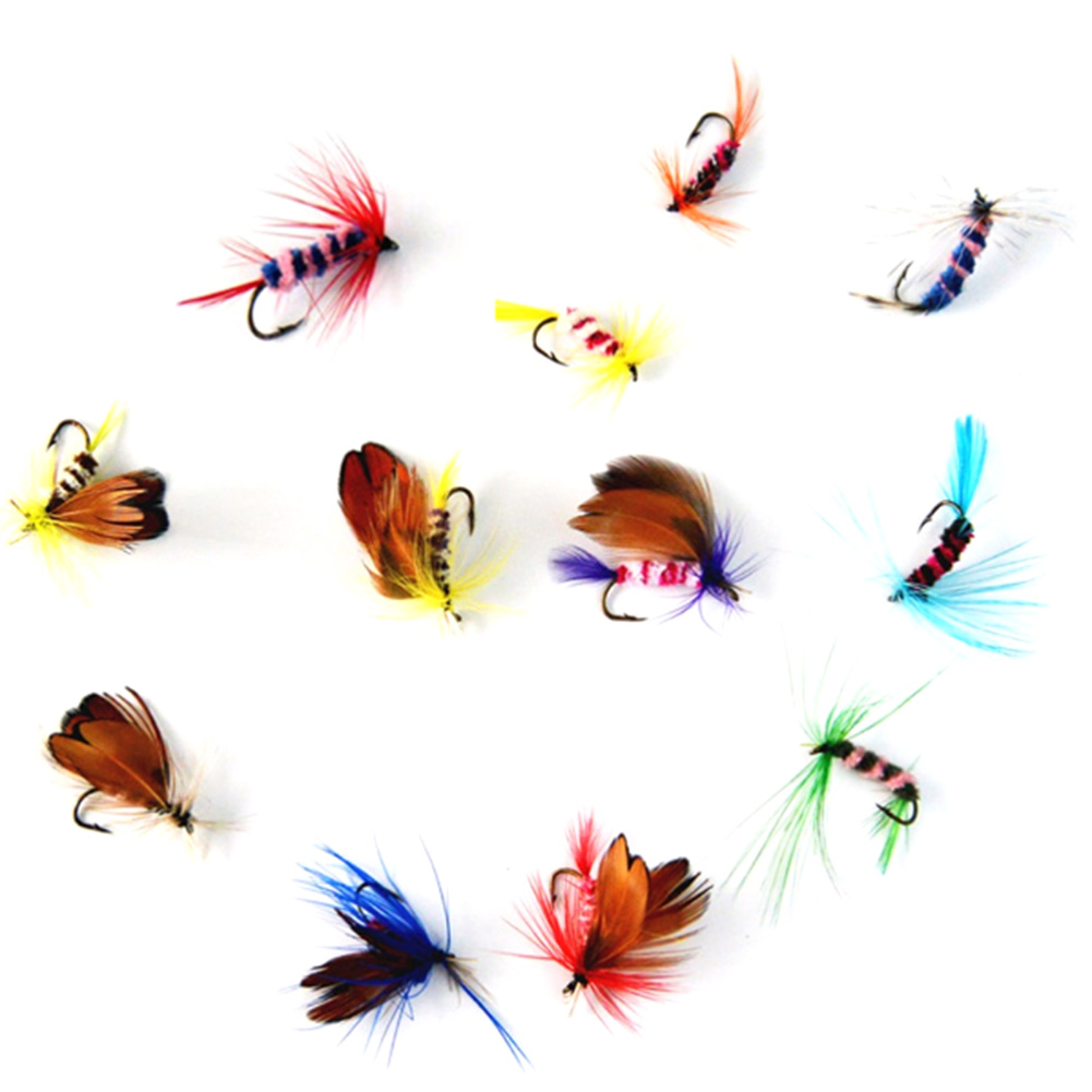 12 Pcs/set Various Dry Fly Fishing Trout Salmon Dry Flies Fish Hook Lures
