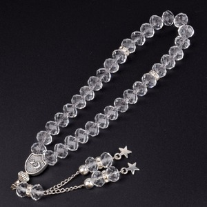 Image 4 - 8mm Faceted Clear Crystal Beaded Bracelet 33 Prayer Beads Islamic Muslim Tasbih Allah Mohammed Rosary for Women Men Jewelry