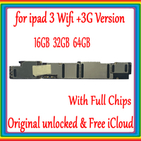 Wifi Version / Wifi 3G Version Mainboard for ipad 3 Motherboard Full Chips,Original unlocked for ipad 3 Logic board,No iCloud