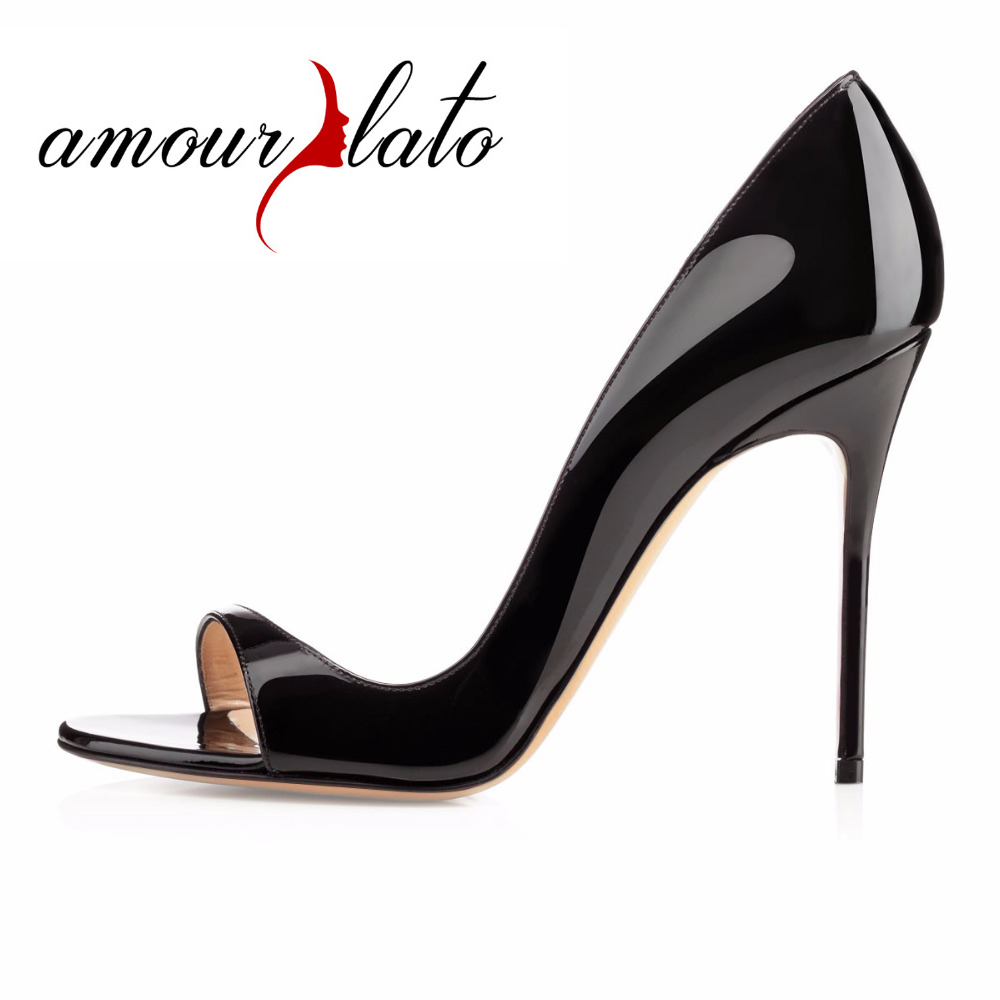 Amourplato Women's 10cm Peep Toe D'orsay High Heel Pumps Two-pieces  Cut Out Stilettos Dress Patent Shoes Black Beige Size 5-13 amourplato women s fashion pointed toe high heel sandals crisscross strap pumps pointy dress shoes black purple size5 13