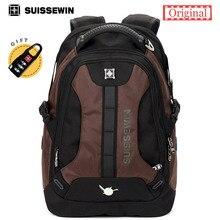 Suissewin hombres de la manera ocasional diario estudiante universitario mochila swissgear bolsa de ordenador portátil mochila de nylon de calidad sn9071 marrón azul sac