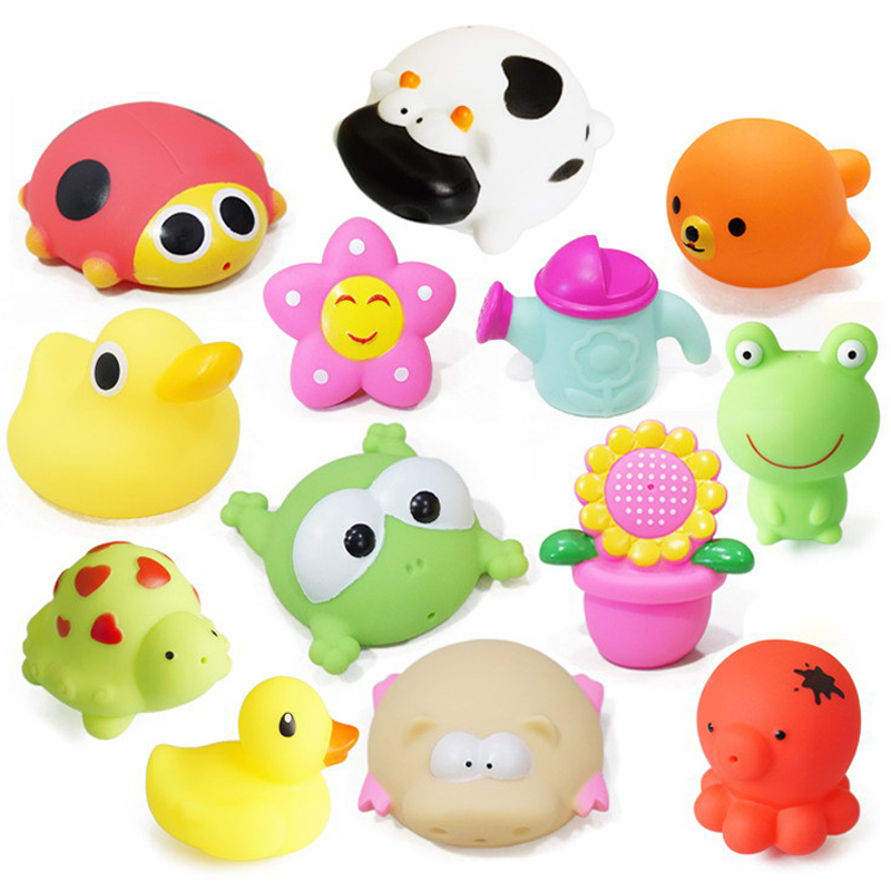 1PCS Bath Toys Water Spray Bathroom Baby Toy For Children Animals Sunflower Star Soft Rubber Toys Duck Green Frog For Boys Girls