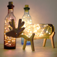 Solid Wooden Elk Deer LED Night Lights Creative Wishing Bottle USB 3D Lamps Fireworks Kids Sleeping