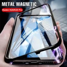 Metal Magnetic Adsorption Case For Xiaomi Redmi 7 K20 Pro Note 7 6 5 Pro Mi 9 8 SE F1 Mi 8 Lite Tempered Glass Back Magnet Cover