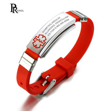 Engrave Name Medical Alert Bracelet for Women Emergency Remind Jewelry Red Silicone Adjustable Size