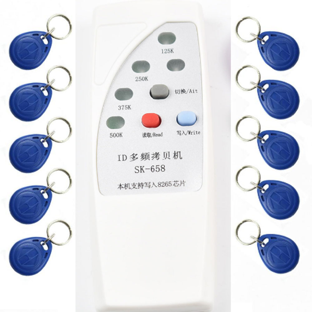 125khz id card access control door RFID Copier Duplicator Cloner EM reader writer +10x EM4305 T5577 5200 writable keyfob
