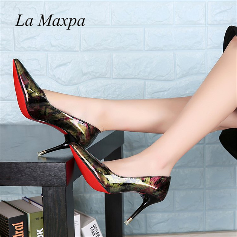 La MaxPa Shoes Woman High Heels Party Shoes Bright Patent Leather 9CM Pumps Pointed Toe Sexy High Heels Gradient Red Sole Shoes
