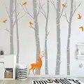 Bétula Natureza Aves Árvore Da Parede do Vinil Adesivo Decalque Da Parede Veados no Inverno Floresta Floresta Art Stickers Crianças Nursery Room Home decoração