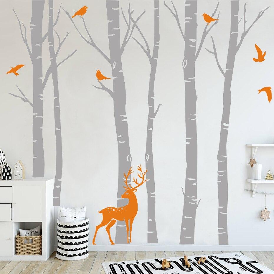 Bouleau arbre vinyle Sticker mural Sticker mural Nature oiseaux cerf en hiver pépinière forêt Art autocollants chambre d'enfants décor à la maison
