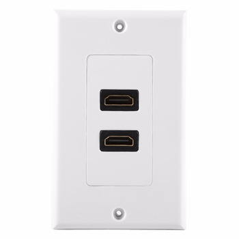 1080P Dual Port HDMI 1.4 Wall Face Plate Panel Cover Coupler Outlet Extender for Home Theater DVD TV Wall Socket