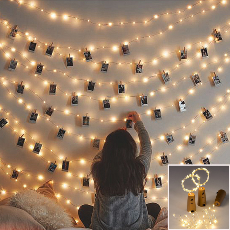 10 20 LED DIY Garland Card Photo Clip String Lights Battery Operated Fairy Lights Christmas Wedding Home Luminaria Decoration 自宅 ワイン セラー