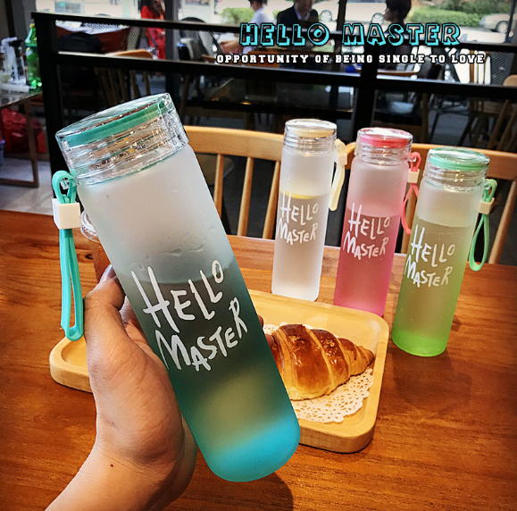 Transparent Glass bottle Creative Frosted Bottle Body Suitable for Student Party and Office Worker