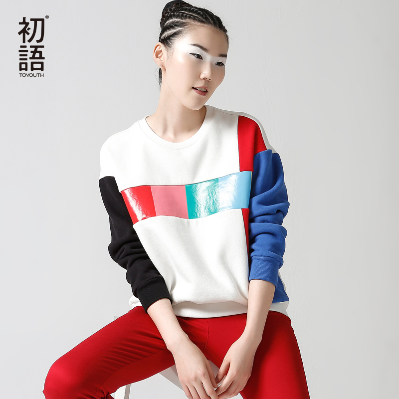 Toyouth 2017 New Arrival Women Cotton Pullovers Sweatshirts Autumn Patchwork O Neck Sweatshirts
