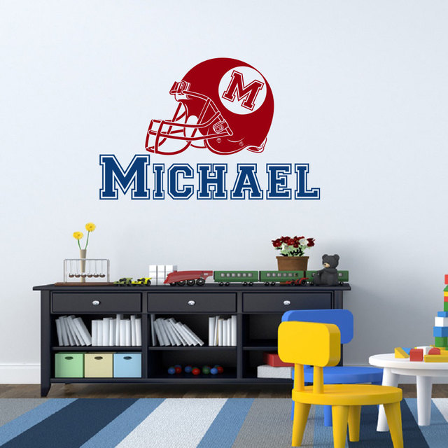 Removable custom made name american football hat wall sticker for living room boys room home wall