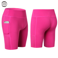 Yel New Sexy Pocket Gym Women Shorts Compression Fitness Tight Athletic Clothing For Yoga Sports Trousers