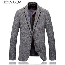 New Arrived Spring Blazers Men Formal Dress Grey Cotton Slim Fit Party Coat Casual Maculino Men's Coats Luxury Outwear Male