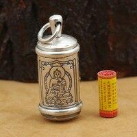 Main Bouddha Gau Boîte Pendentif 990 Pur Argent Tibétain Gau Boîte Pendentif vintage Pur argent Bouddhiste Prière Boîte Pendentif
