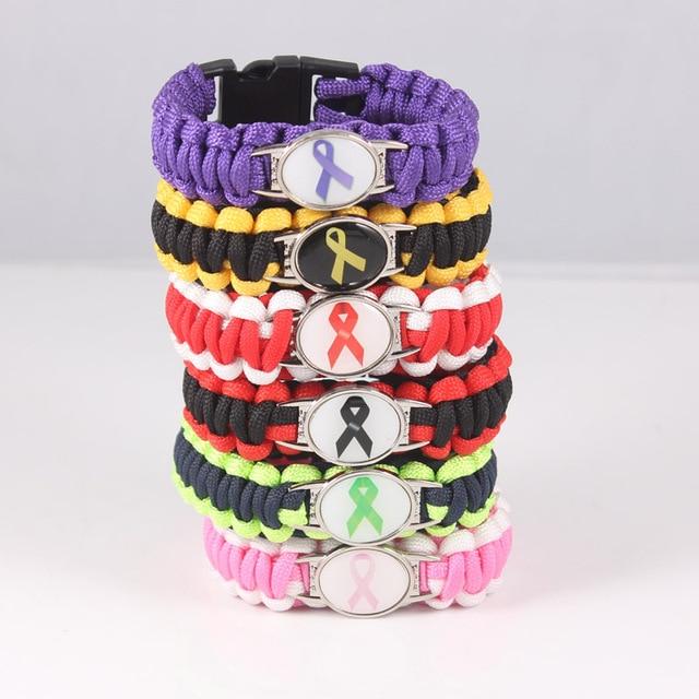 Autism Awareness Strong Hope Fighter Warrior Ribbon T Cure Childhood Cancer Paracord Bracelets For Men Women