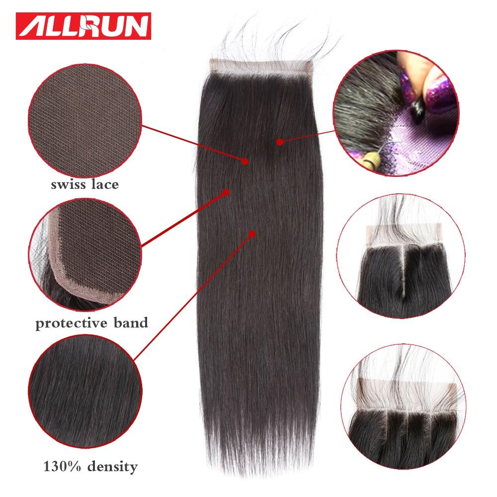 ALLRUN 4 * 4 Rett brasiliansk hårspetslåsning Olika storlekar 10 - Mänskligt hår (svart) - Foto 3