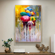 Handmade abstract figure paintings Home decoration modern street oil painting on Canvas fashion Colorful rainy Wall Art