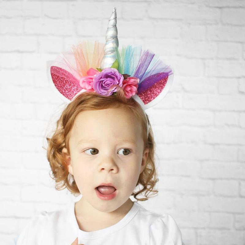 Unicorn Horn Flower Headband Head Party Fancy Dress Halloween Birthday Costume