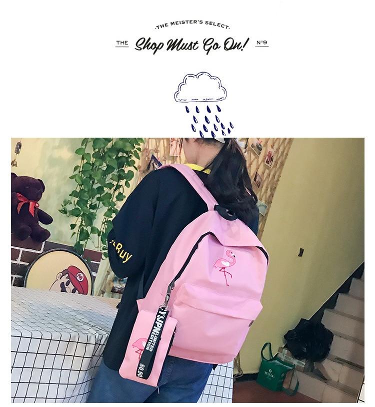 HTB1mP7OBZuYBuNkSmRyq6AA3pXaT Backpacks Brand Women Simple Flamingo Printing Backpack For Teenage Girls Laptop School Bags Mochila 2019