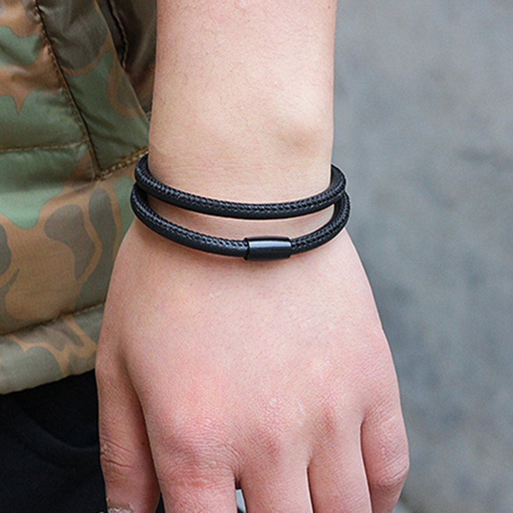 New Genuine Braided Multilayer Leather Bracelet Men Women Stainless Steel Magnetic Clasp Male Bracelets Bangles Jewelry