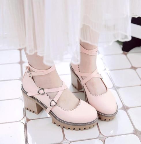 US4-Delle Donne Punta Rotonda Caviglia Cinturini Incrociati Fibbia Block Tacchi Alti Cosplay Lolita Shoes 4 Colori Ragazze Dolce Mary Jane