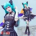 Vocaloid Miku Teléfono Juego Limited Negro Vestido Uniformes Cosplay Envío Gratis + Alas
