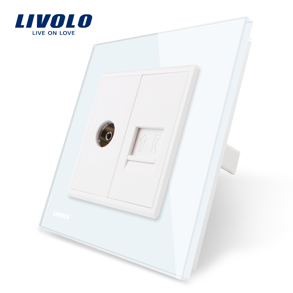 Livolo Manufacture Crystal Glass Panel, 2 Gangs Wall Tv and Tel Socket / Outlet VL-C791VT-11/12/13/15, Without Plug adapter vehemo hot sale 4 1 inch touch screen car mp5 stereo radio audio support rear camera 12v car bluetooth player handsfree