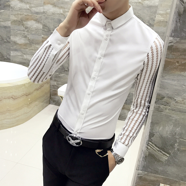 Men Shirt 2019 Spring Hollow Lace Patchwork Long Sleeve Shirt Men Streetwear Mens Shirts Casual Slim Fit Night Club Dress Tuxedo 3
