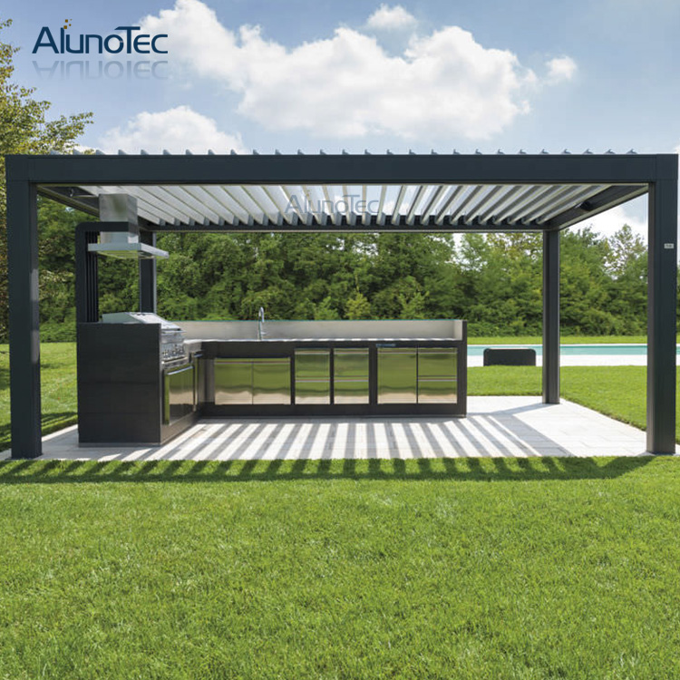 4m x 4m x 3m aluminium automatic weatherproof pergola louver roof patio in shade sails nets. Black Bedroom Furniture Sets. Home Design Ideas