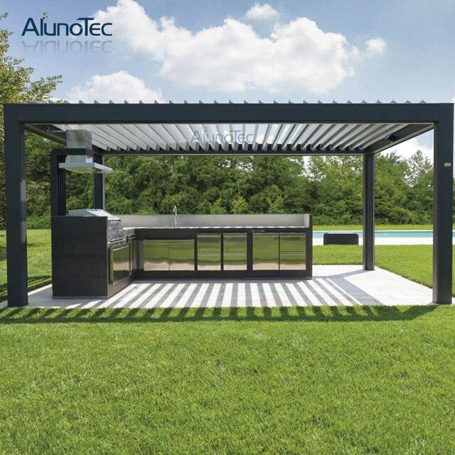 Pergola Dach aluminium automatische wetterfeste pergola jalousie dach terrasse 4