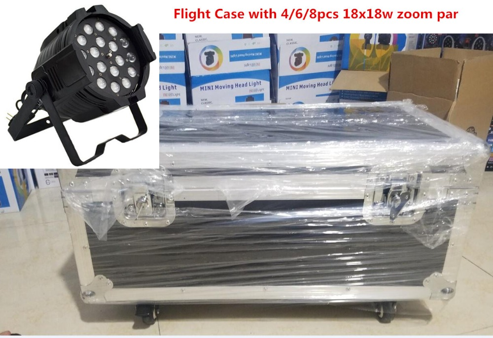 Flight Case with 4/6/8pcs 18x18W Zoom LED Par Lights with 1 flight case rgbwa uv 6in1 led par light dj dmx Controller lights pop relax electric vibrator jade massager light heating therapy natural jade stone body relax handheld massage device massager
