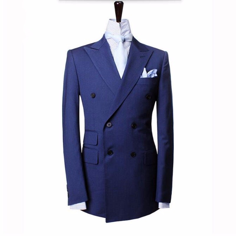 3.1Blue men suits jacket double breasted groom wedding dress jacket custom made formal work business suits jacket