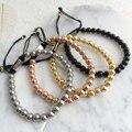 6mm Moda Banhado A Ouro Rodada Beads Pulseira Trançada Pulseiras Macrame Jóias Para Homens Presente Jóias Mulheres Homens Charme Pulseiras