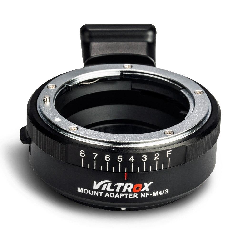 Viltrox NF-M4/3 Messa A Fuoco Manuale Lente Adattatore di Montaggio w/Manopola di Apertura per Nikon Lens per M4/3 macchina fotografica GH5 GH4 GF6 GX85 GX7 G6 E-M5 E-M10