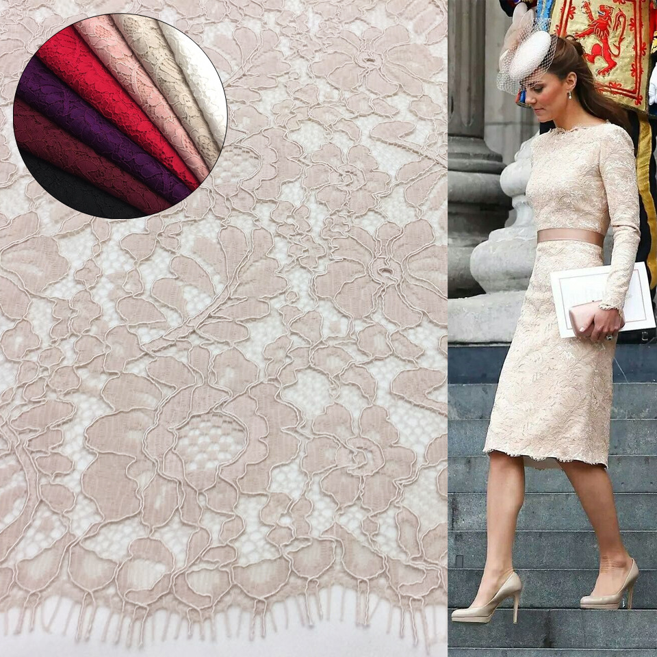 2018 NEW high quality dress lace fabric 1.5*1.5 meters/piece eyelash cording lace in 7 colors Burgandy, purple, Red, Pink, Black